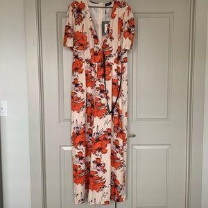 Orange Floral Print Woven Wrap Wide Leg Jumpsuit